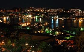 Обои ночь, приморье, столица приморья, Владивосток, огни
