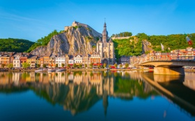 Обои мост, скала, река, дома, Бельгия, архитектура, houses