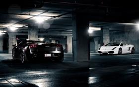 Обои белый, чёрный, тачки, gallardo, lamborghini, cars, auto wallpapers