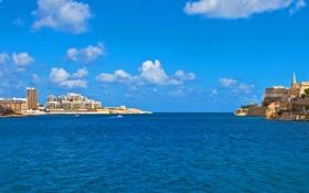 Обои город, небо, дома, фото, Мальта, Valletta, море