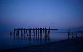 Обои море, пейзаж, ночь