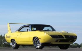 Картинка желтый, автомобиль, мускул кар, Plymouth, плимут, Superbird, Road Runner