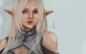 Картинка девушка, арт, эльфийка, уши, Lineage, Light Elf