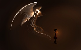 Картинка свет, фантастика, крылья, ангел, зажигалка, арт, девочка
