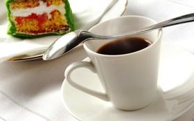 Картинка кофе, тарелка, ложка, чашка, белая, пирожное, десерт