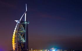Обои город., ночь, Бурдж Аль Араб, Burg AL Arab, hotel, naght, отель