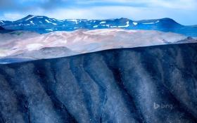 Обои снег, горы, люди, Исландия, Hverfjall