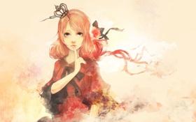 Картинка цветок, девушка, аниме, корона, арт, лента, бант