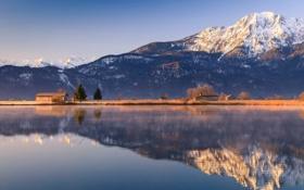 Картинка пейзаж, горы, озеро, дома