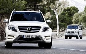 Обои дорога, белый, Mercedes-Benz, джип, внедорожник, мерседес, GLK