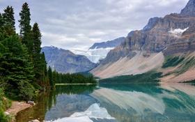 Картинка снег, деревья, горы, озеро, отражение