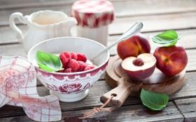 Обои ягоды, малина, завтрак, творог, нектарины