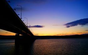 Картинка небо, закат, птицы, мост, река, вечер