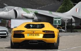 Картинка желтый, самолёт, lamborghini, yellow, задок, aventador, lp700-4