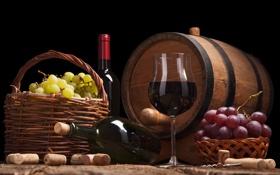 Обои грозди, вино, корзина, бокал, виноград, бочка