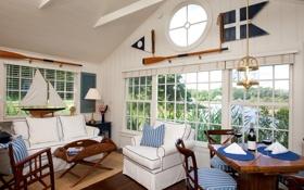 Обои дизайн, дом, стиль, вилла, интерьер, жилая комната, sailboat cottages at cabot cove