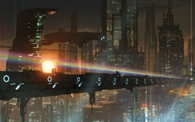 Обои мост, город, будущее, транспорт, корабль, арт, мегаполис