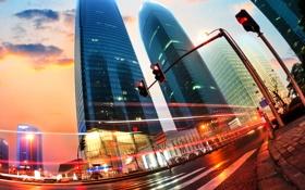 Обои China, Китай, Гонконг ночью, легкие трассы в Шанхае, Hong Kong at night, light trails in ...