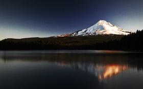 Обои вода, горы, отражение, гора