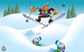 Обои зомби, цветок, снег, Plants vs Zombies, лыжник