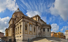 Картинка небо, облака, дома, Рим, Италия, церковь, ступени