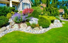 Обои зелень, трава, дом, камни, газон, солнечно, особняк