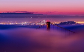 Картинка огни, туман, san francisco, сан франциско, golden gate bridge