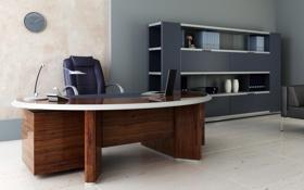 Обои стол, часы, кресло, кабинет