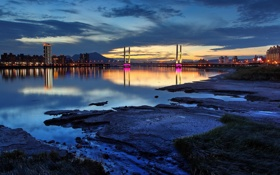 Обои город, мост, ночь