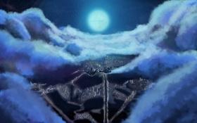 Обои небо, облака, полет, город, вид, арт, ночь. луна