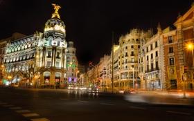 Обои ночь, огни, улица, дома, перекресток, Spain, Madrid