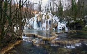 Обои камни, река, деревья, водопад, лес, франция