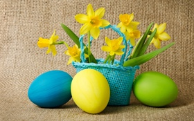 Обои Пасха, цветы, пасхальные яйца, яйца