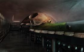 Обои ночь, фантастика, арт, обсерватория, by cloudminedesign, sky garden