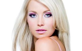 Обои лицо, макияж, блондинка, белый фон
