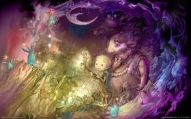 Картинка сова, птица, сказка, ветка, месяц, мальчик, арт