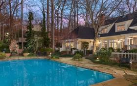 Картинка бассейн, двор, деревья, вилла, небо, дом