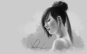 Обои девушка, арт, черно-белое, монохромное, Vernon Lee