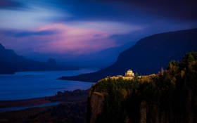 Картинка лес, горы, река, рассвет, сумерки, Columbia River Gorge, The Overlook