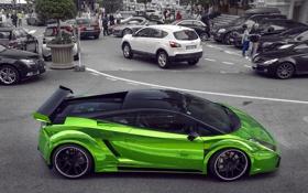 Обои prior design, tuning, green, gallardo, Lamborghini, streent, monaco