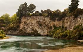Обои скала, река, берег, растительность, лодка, Новая Зеландия, Waikato