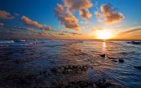 Картинка закат, облака, океан
