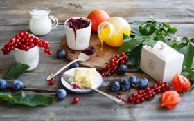 Картинка варенье, джем, смородина, нектарин, фрукты, ягоды, листья
