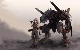 Обои робот, девушка, прогулка