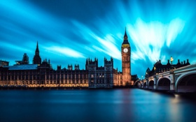 Картинка City, Clouds, Water, Night, London, England, Big Ben