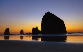 Обои пляж, скалы, рассвет, утро, силуэт, Cannon Beach