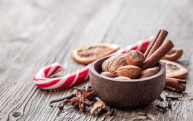 Картинка корица, Рождество, Christmas, New Year, орехи, дерево, специи
