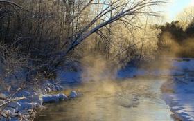 Картинка зима, туман, река, утро
