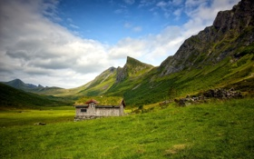 Обои пейзаж, горы, дом
