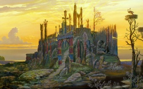 Обои закат, озеро, гнездо, солнечные лучи, аисты, старец, Всеволод Иванов